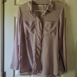 Button-up lavender Swiss dot blouse